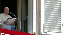 """Catholic Pope Francis speaking during an """"Angelus"""""""