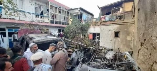 Damage caused by the US drone attack in Kabul
