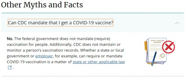 """CDC """"Other Myths and Facts"""" page"""