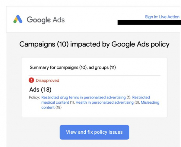 Live Action ads banned by Google despite running for four months