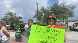 Disney employees protesting the company's vaccine mandate