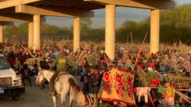 Haitians camped under the bridge at Del Rio, Texas