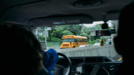 school bus on the road somewhere in New York