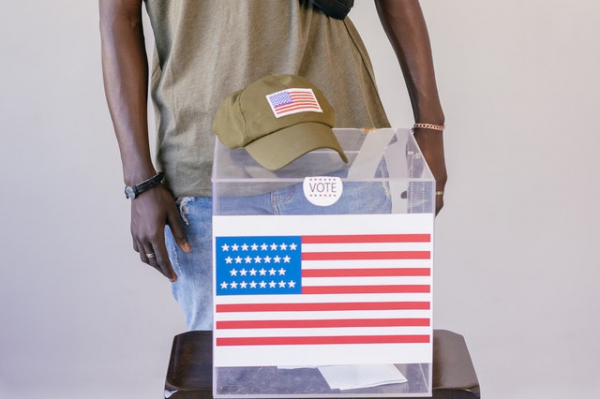 voter in front of ballot box