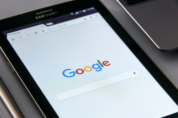 Samsung tablet showing Google's search page on a browser